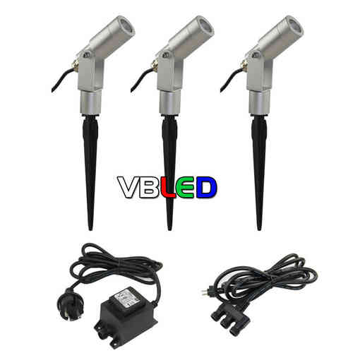 12V LED Gartenspot 3er Set 3W 3000K
