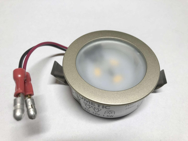 12V Dometic LED Einbauleuchte Mattglas St.Verbinder Bl.Feder Nickelmatt